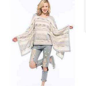 Chaser Kanga Poncho Sweater XS Ivory Blue Striped